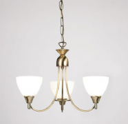 Alton 3 Light Fitting in Antique Brass with Glass Shades - ENDON 1805-3AN